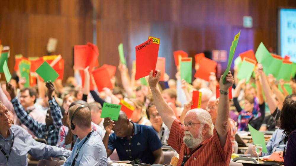 Members of different FSC factions vote on a motion © WWF Russia